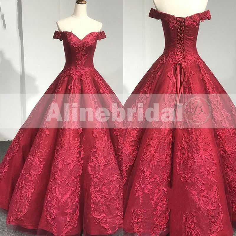 Red Lace Off The Shoulder Princess Ball Gown Gorgeous Prom Dresses ...