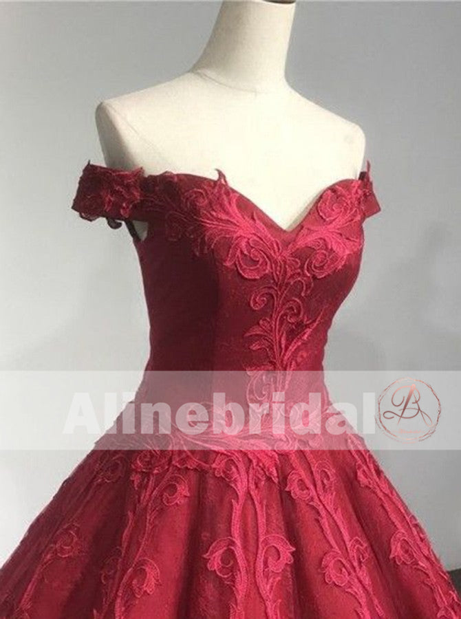 Red Lace Off The Shoulder Princess Ball Gown Gorgeous Prom Dresses ,PD00093