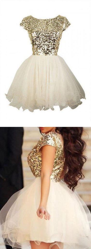 Gold sequin short sleeve Tulle homecoming prom dresses, CM0012
