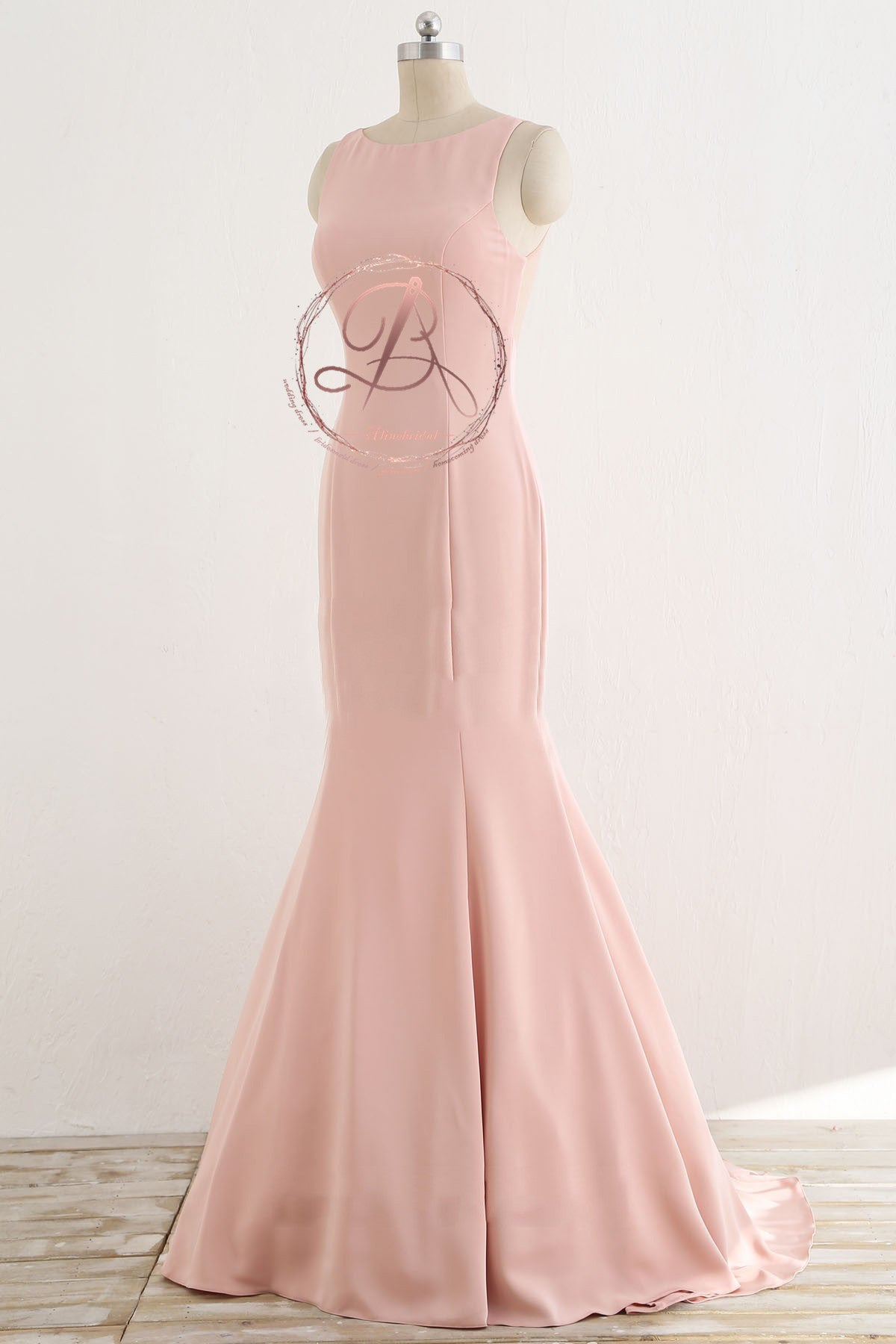 Unique Two Piece Pink Beading Top See Through Tull Back Mermaid Prom ...