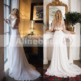 Fashion Two Piece Long Sleeves Lace Top Chiffon Beach Wedding Dresses, AB1145