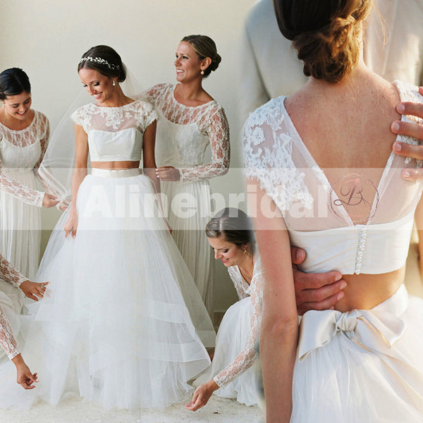 New Arrival Two Piece Short Sleeves Round Neck Ivory Lace Tulle  Wedding Dresses, AB1139