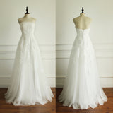 Long Generous Beach Wedding Pleating Tulle Straight Across A-line Appliques Lace Up Back  Wedding Dress, AB1097