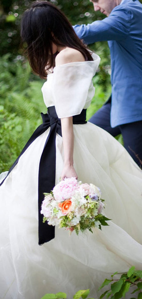 Simple Cheap Ivory Strapless Black Sash Elegant Sweet Ball Gown Wedding Dresses, AB1116