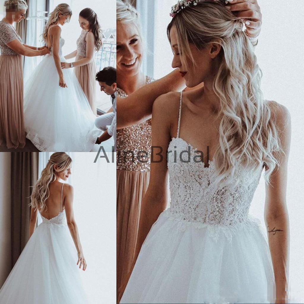 Fashion Spaghetti Straps Backless Lace Top A Line Long Wedding Dresses, WD1102