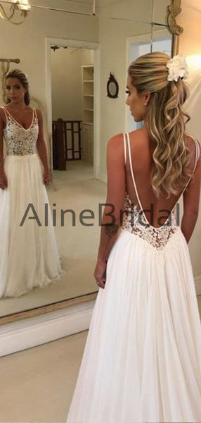 Fashion Lace Top Open Back Chiffon A Line Beach Wedding Dresses, WD1111