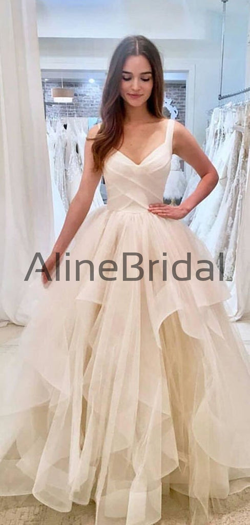 Unique Ivory V Neck Ball Gown Sleeveless Tulle Long Wedding Dresses, WD1103