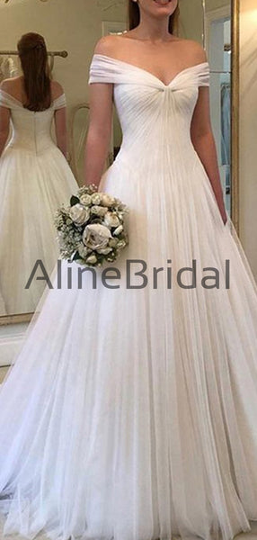 Fashion Chiffon Off The Shoulder Tulle Ball Gown Long Wedding Dresses, WD1106