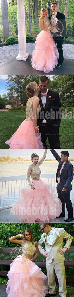 Two Pieces Light Pink Organza Golden Lace V-back Ruffles Ball Gown  Prom Gown Dresses,PD00035