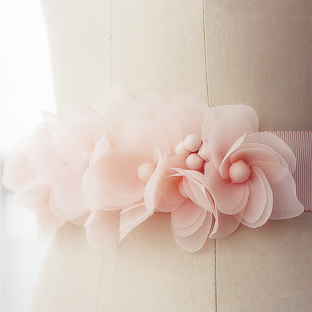 Pink Handmade Flowers Girl Sash, Bridesmaids Sash, Pretty Sash, Different Color Sash , SA0001
