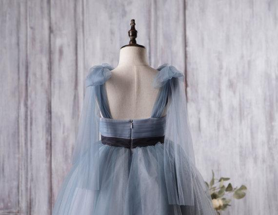 Dusty Blue Tulle Flower Girl Dresses, A-line Little Girl Dresses, Affordable Junior Bridesmaid Dresses, FG056 - Wish Gown