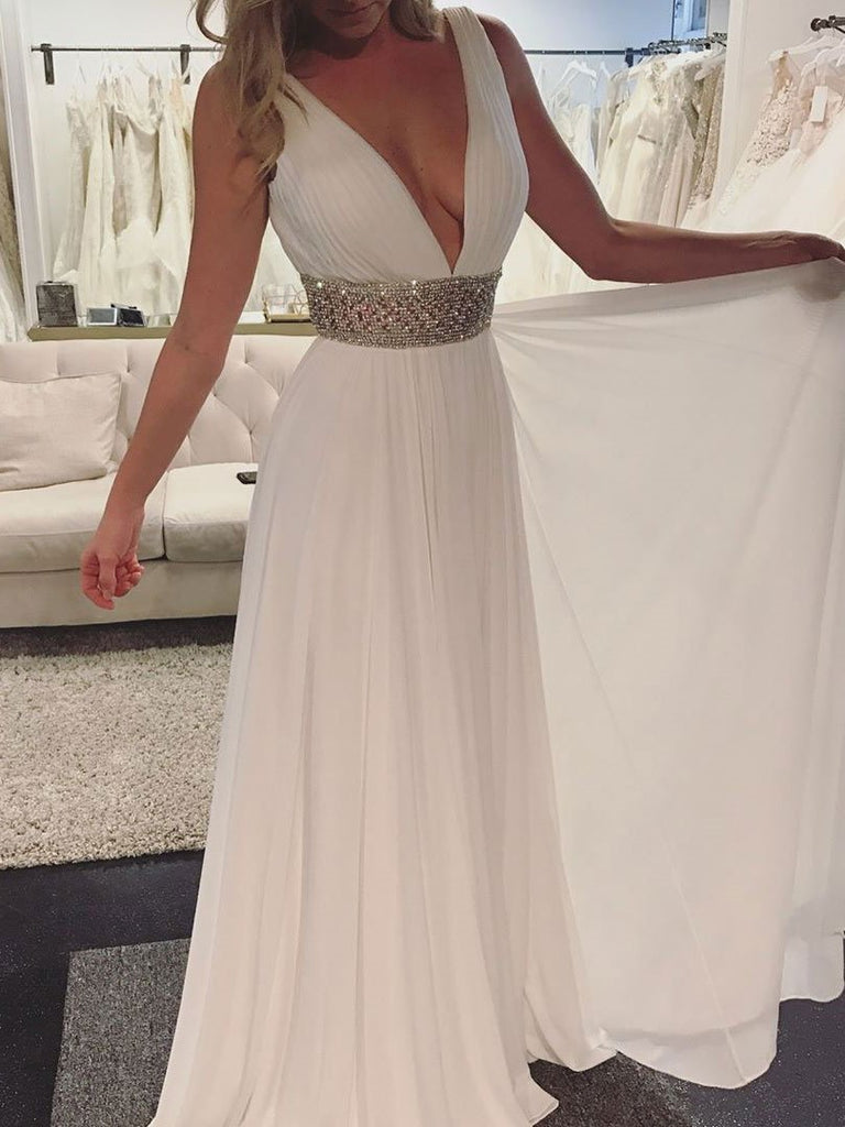 Simple Cheap Long A-line Chiffon Bridal Beach Wedding Dress, WD0098