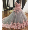 Long Sleeves Lace Applique Charming Ball Gown Long Prom Dresses, WG1000