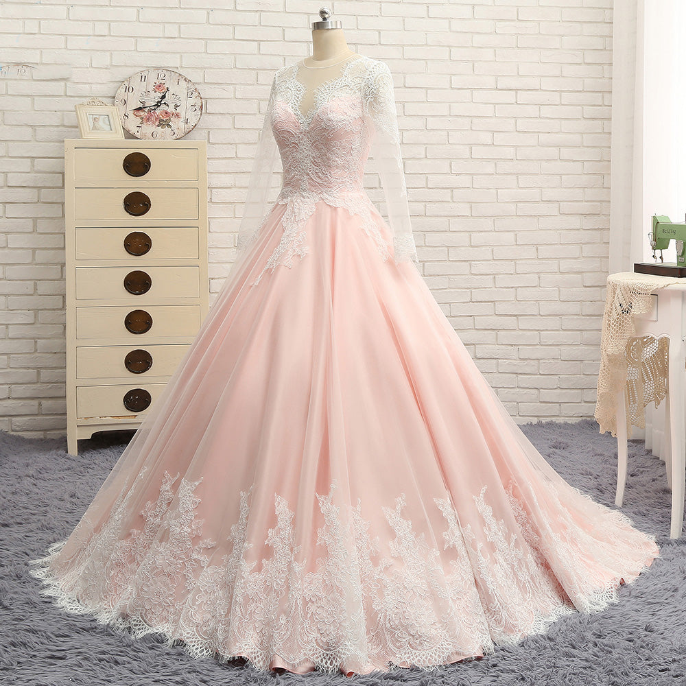 Long Sleeves V Neck Applique Blush Cheap Long Evening Prom Dresses, WG1003