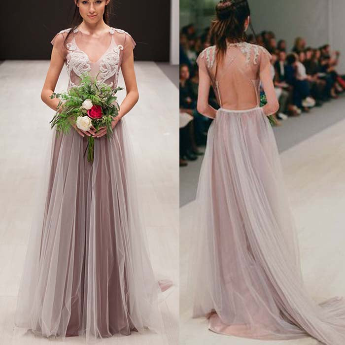 Cap Sleeves Open Back Sexy Tulle Affordable Long Prom Dresses, WG1006 - Wish Gown