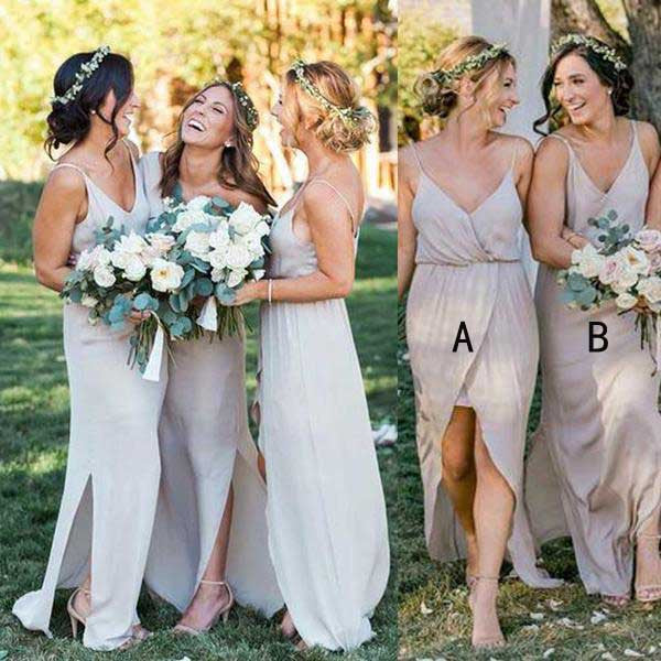 Simple Cheap Satin Chiffon Spaghetti Strap Side Split Long Bridesmaid  Dresses For Beach Wedding Party,