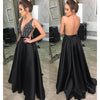 Black Sexy Seen Through Back Cheap Long Evening Prom Dresses, WG1015