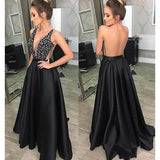 Black Sexy Seen Through Back Cheap Long Evening Prom Dresses, WG1015 - Wish Gown