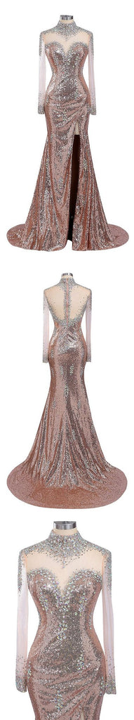 Long Sleeves Sexy Side Split High Neck Sequin Shinning Long Prom Dresses, WG1024