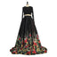 Black Long Sleeves Two Pieces Elegant Affordable Long Prom Dresses, WG1025
