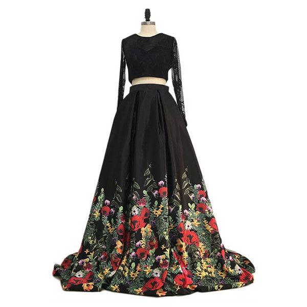 Black Long Sleeves Two Pieces Elegant Affordable Long Prom Dresses, WG1025 - Wish Gown
