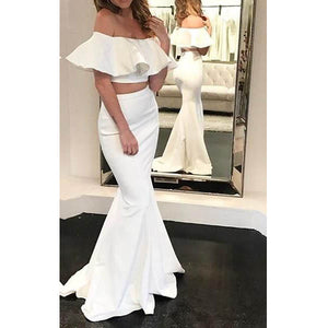 Two Pieces Mermaid Off the Shoulder Sexy Cheap Long Prom Dresses, WG1029