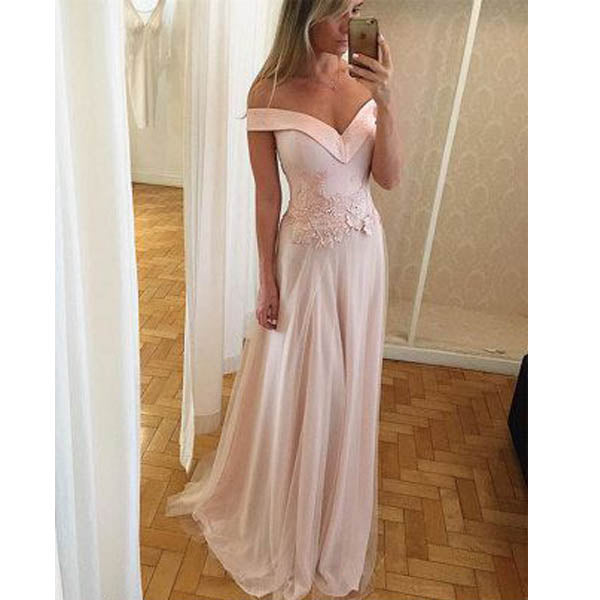 Simple Cheap Off the Shoulder Formal Long Prom Dresses, WG1030