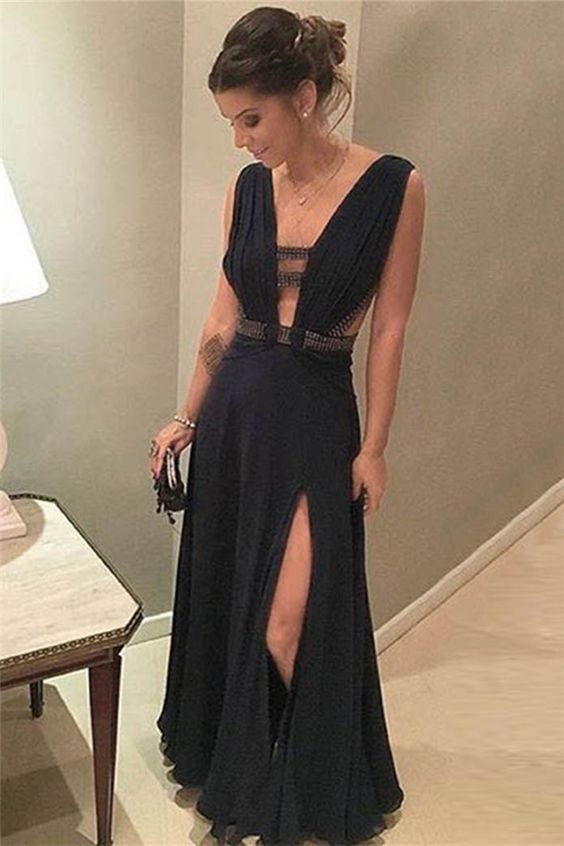 Black Sexy Side Split Online Simple Cheap Long Prom Dresses, WG1036 - Wish Gown