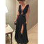 Black Sexy Side Split Online Simple Cheap Long Prom Dresses, WG1036