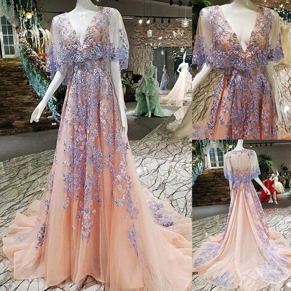 Beautiful Unique V Neck Charming Applique Long Prom Dresses, WG1041 - Wish Gown