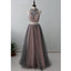 2 Pieces Popular Charming Beaded Tulle Inexpensive Long Prom Dresses, WG1044 - Wish Gown