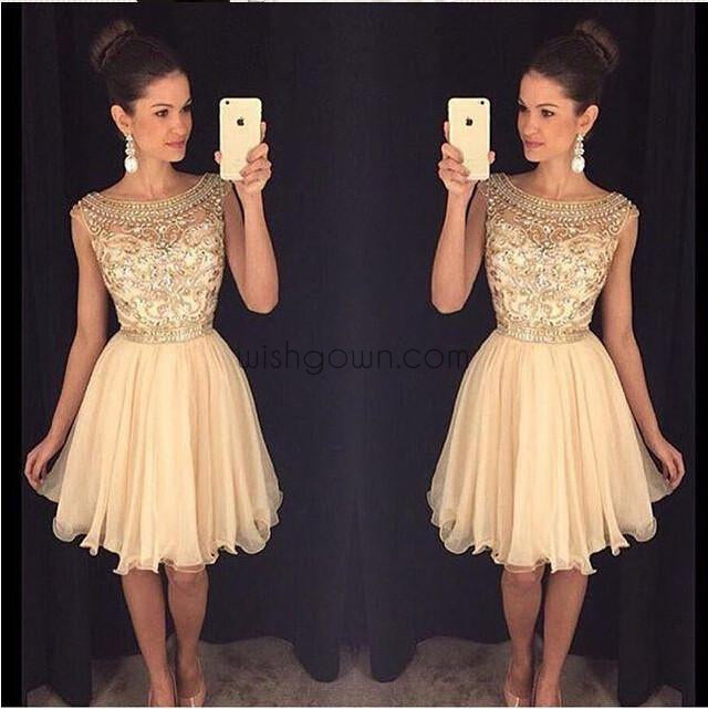 Junior Cute Beaded See through Sexy Graduation homecoming prom dresses, CM0011