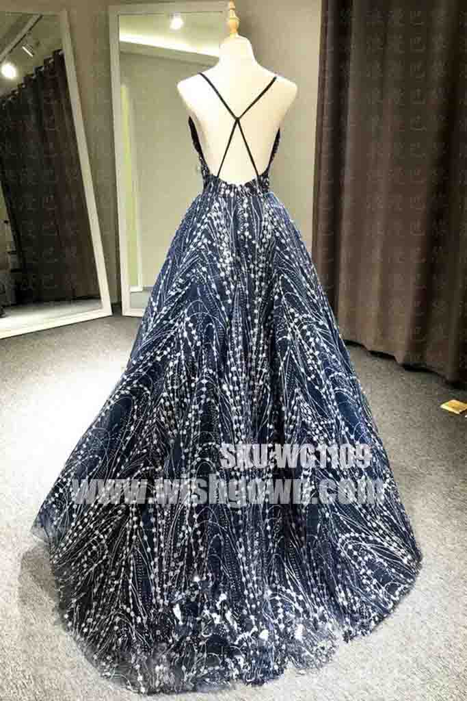 Unique Open Back Formal Fashion Long Evening Prom Dresses, WG1109