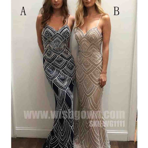Spaghetti Strap Mermaid Beaded Gorgeous Long Evening Prom Dresses, WG1111