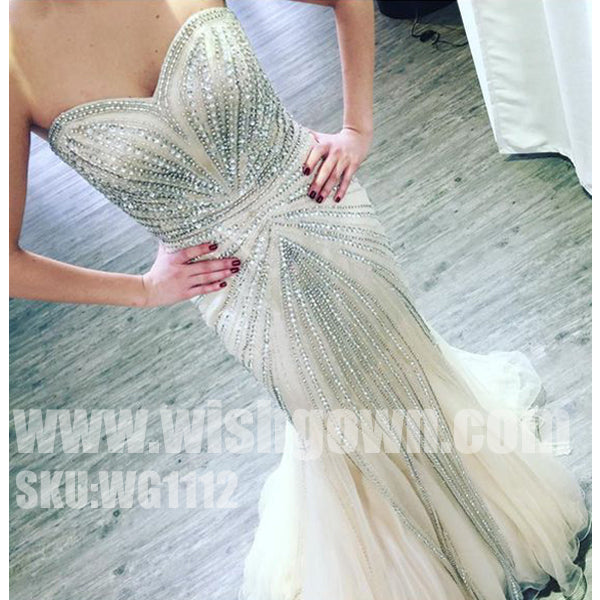 Gorgeous Beading Sparkly Sweetheart Mermaid Evening Long Prom Dresses, WG1112