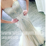 Gorgeous Beading Sparkly Sweetheart Mermaid Evening Long Prom Dresses, WG1112 - Wish Gown