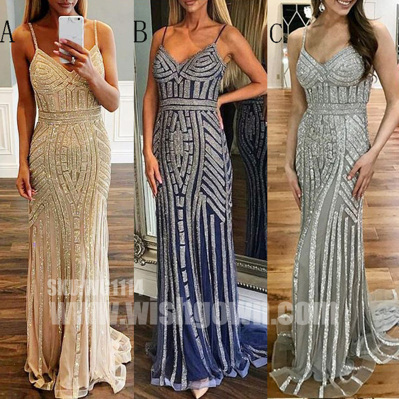 Most Popular Sparkle Charming Spaghetti Strap Evening Long Prom Dresses, WG1114