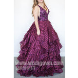 Best Sale V Neck Sexy Beaded Top Formal Affordable Long Evening Prom Dresses, WG1117 - Wish Gown