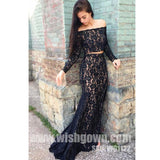 Two Pieces Off the Shoulder Long Sleeves Mermaid Black Long Prom Dresses, WG1122