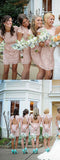 Fashion Cap Sleeve Open Back Small Round Neck Short Lace Blush Pink Mini Cheap Bridesmaid Dresses, WG116 - Wish Gown