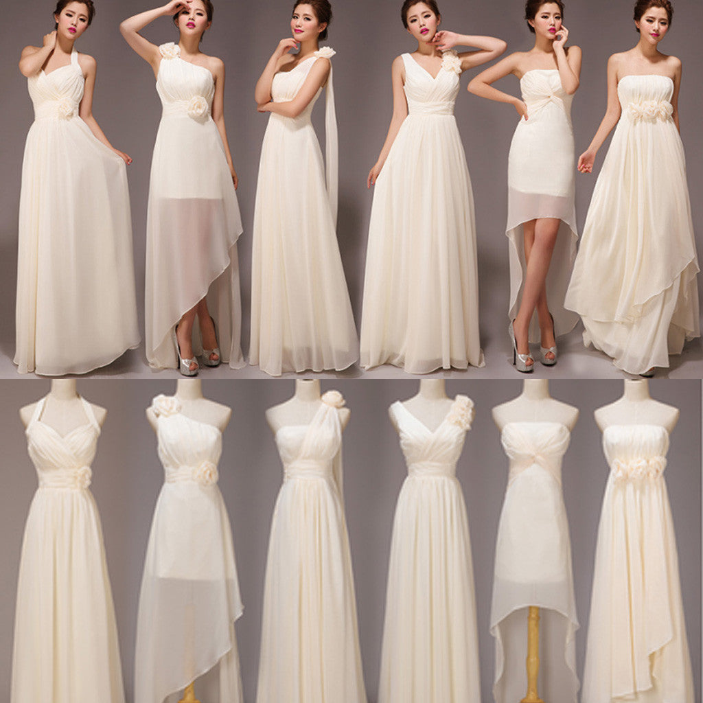 Mismatched Pretty Chiffon Long Different Styles Formal