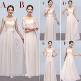 Mismatched Chiffon Lace Champagne Long Different Styles Cheap Floor-Length Bridesmaid Dresses, WG121