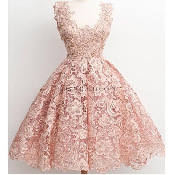 Dark Pink Lace Floral prints Vintage tea length elegant casual homecoming prom dresses,BD00128 - Wish Gown