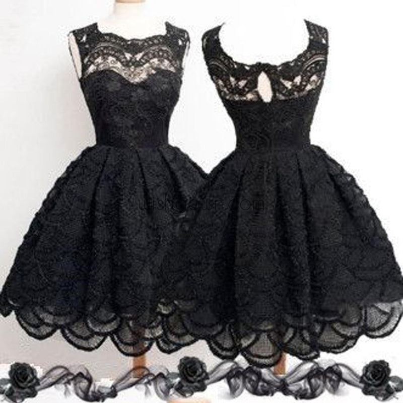 Black lace simple modest vintage freshman homecoming prom dresses, BD00129
