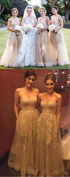 Gorgeous Sweet Heart Lace Champagne Long Dresses for Maid of Honor Cheap Wedding Guest Dresses, WG18
