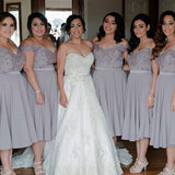 Cap Sleeve Off Shoulder Tea Length Chiffon Lace Grey On Sale Short Young Bridesmaid Dresses, WG134 - Wish Gown