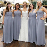 Cheap Simple Formal Chiffon One Shoulder Floor-Length A Line Maxi Bridesmaid Dresses, WG136 - Wish Gown