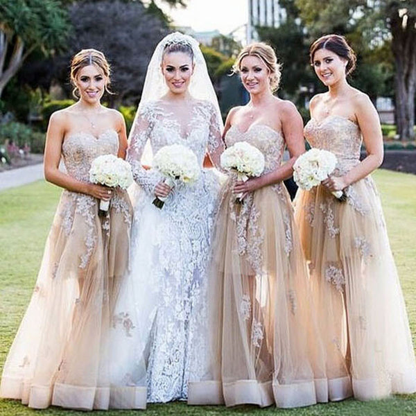 Gorgeous Sweet Heart Lace Champagne Long Dresses for Maid of Honor Cheap Wedding  Guest Dresses 84aba4377057