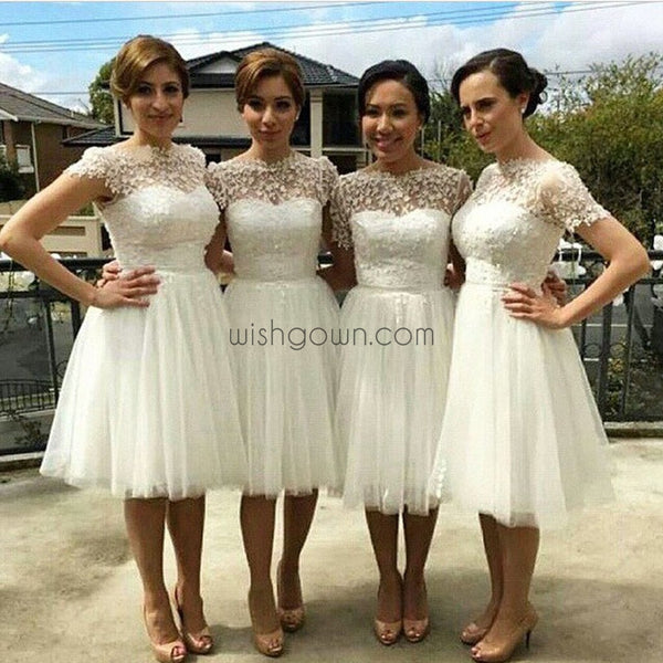Short Sleeve White Tulle Knee Length Wedding Party Dresses, Cheap Homecoming Graduation Occasion Dresses, WG140