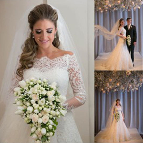 Gorgeous Off Shoulder Long Sleeve Zip Up Long A-line Princess Wedding Dresses, WD0141 - Wish Gown